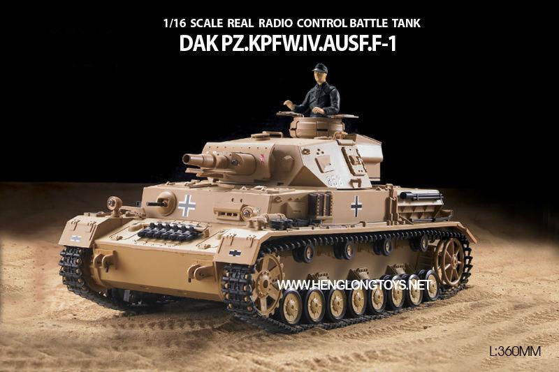ラジコン戦車完成品ヘンロンHengLong 1/16 IV号F1型(2.4GHz・プラキャタピラ・BB・サウンド・発煙仕様)German DAK Pz.Kpfw.IV-F1 Tank Plastic Tracks 3858-1
