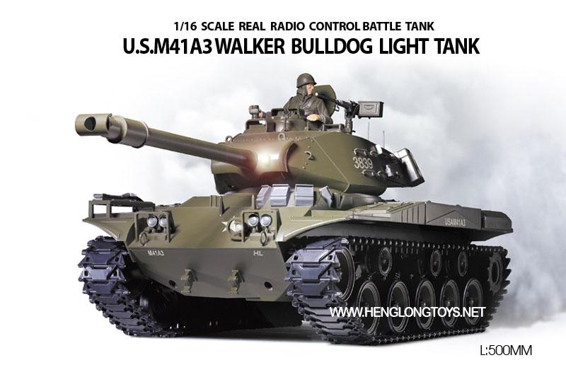 ラジコン戦車完成品ヘンロンHengLong 1/16 US M41A3 ウォーカー・ブルドック(2.4GHz・プラキャタピラ・BB・サウンド・発煙仕様)US M41A3 Walker Bulldog Tank plastic Tracks 3839-1