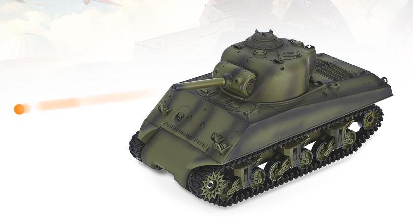 ラジコン戦車完成品ヘンロンHengLong 1/16シャーマンM4A3(2.4GHz・ウェザリング塗装・プラキャタピラT74・BBシューティングシステム・サウンド・発煙仕様) 3898-1