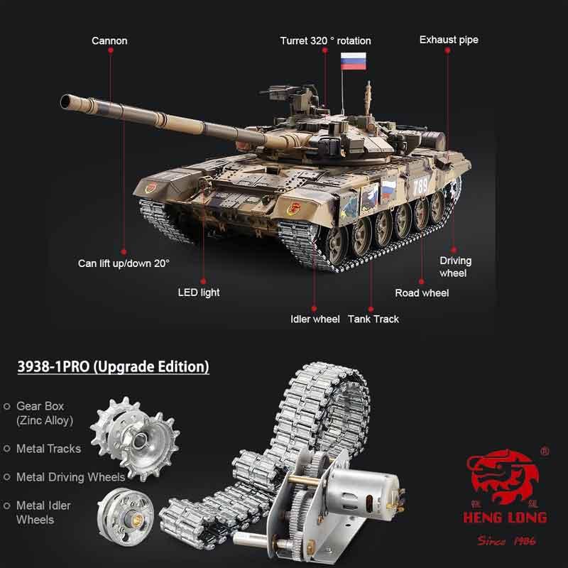 HengLong 1/16 T-90 2.4GHz(金属ギアボックス・金属キャタピラ・金属スプロケ・アイドラー・ロードホイール・BB・サウンド・発煙仕様)T-90 Russischer Kampfpanzer 1/16 Pro-Edition 3938-1Pro