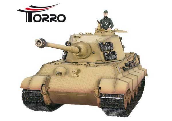 ラジコン戦車完成品トロTorro 1/16KingTigerプロ-メタルエディション(金属キャタピラ・赤外線バトルシステム・サウンド・発煙仕様・デザート塗装)