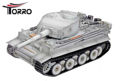 ラジコン戦車完成品トロTorro 1/16Tiger I 初期型(金属シャーシー・BB・サウンド・発煙仕様・グレーウェザリング塗装)Tiger 1 Panzer mit Metallunterwanne Frühe Version BB Winter-Grau 1112205221
