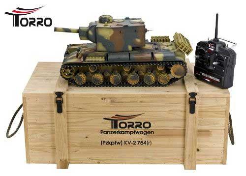 ラジコン戦車完成品トロTorro 1/16KV-2 Pzkpfw. KV-2 754(r)プロ-メタルエディション(金属キャタピラ・赤外線バトルシステム・サウンド・発煙仕様・迷彩塗装)1112438786