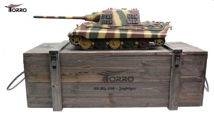 ラジコン戦車完成品トロTorro 1/16JagdTigerプロ-メタルエディション2.4Ghz(金属キャタピラ・赤外線バトルシステム・サウンド・発煙仕様・迷彩塗装)Jagdtiger IR Camo 1112200782