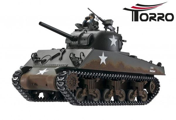 ラジコン戦車完成品トロTorro 1/16 M4A3シャーマン プロ-メタルエディション(金属キャタピラ・赤外線バトルシステム・サウンド・発煙仕様・ウェザリング塗装)RC 1:16 tank Sherman M4A3 Pro-Edition IR Version Torro RC 1:16 tank 1112400762