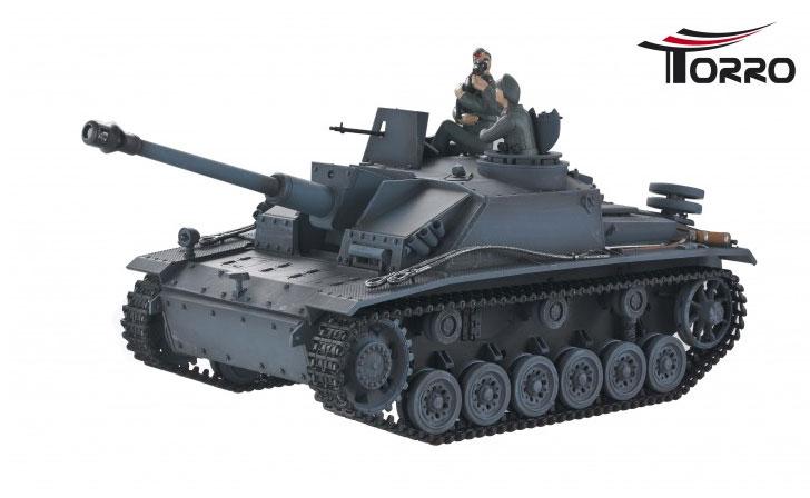ラジコン戦車完成品トロTorro 1/16 StuG III. Ausf.G (2.4GHzバージョン・赤外線バトルシステム・サウンド・発煙仕様・ウェザリング塗装)StuG III. Ausf.G 2,4 GHz Grau IR Battlesystem 1112103661