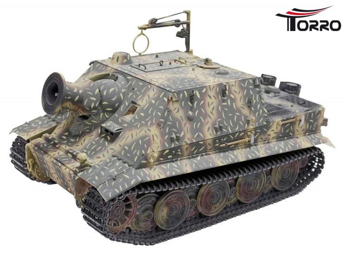 ラジコン戦車完成品トロTorro 1/16SturmTiger (金属シャーシー・金属キャタピラ・金属ホイール・赤外線バトルシステム・サウンド・発煙仕様・迷彩塗装) Sturm Tiger Tank 1:16 with metal chassis IR Battle System 1111700301