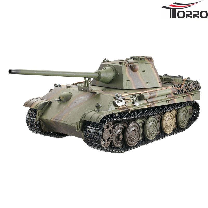 ラジコン戦車完成品トロTorro 1/16Panther F型 プロメタルエディション(金属シャーシー・赤外線バトルシステム・サウンド・発煙仕様・迷彩ウェザリング塗装) Panther F Profi Metallausführung IR Version Grün/TarnTORRO Panzer mit Holzkiste 1213879503