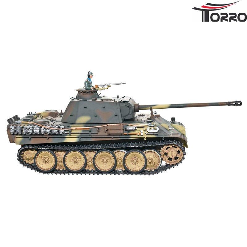 ラジコン戦車完成品トロTorro 1/16Panther G型 プロメタルエディション(金属シャーシー・赤外線バトルシステム・サウンド・発煙仕様・迷彩ウェザリング塗装)Panther G Profi Metallausführung IR Version Braun/TarnTORRO Panzer mit Holzkiste 1213879502
