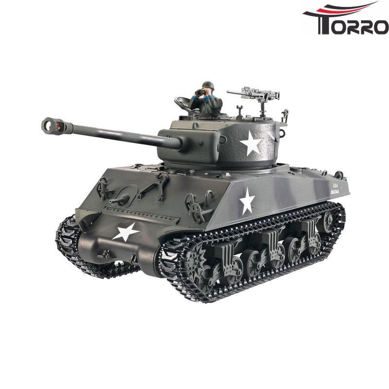ラジコン戦車完成品トロTorro 1/16 M4A3 76mm シャーマン プロ-メタルエディション(金属キャタピラ・BBシューティングシステム・サウンド・発煙仕様・ウェザリング塗装)1/16 RC Sherman M4A3 76mm Tank BB 1114213060