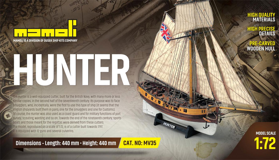 c.mamoli ハンター(MV35 HUNTER British Armed Cutter 1797)