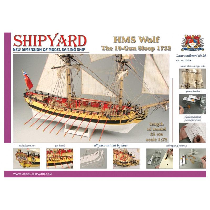 VESSEL-SHIPYARD HMSウルフ(HMS Wolf 1754 Laser Cardboard Kit)ZL:029