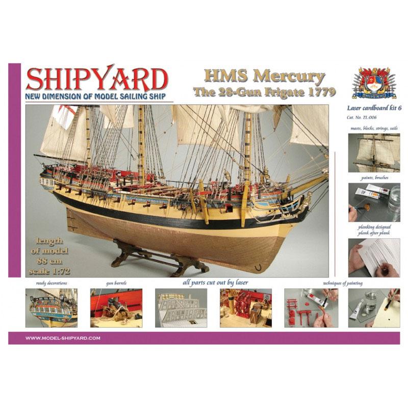 VESSEL-SHIPYARD HMSマーキュリー(HMS Mercury 1779 Laser Cardboard Kit)ZL:006