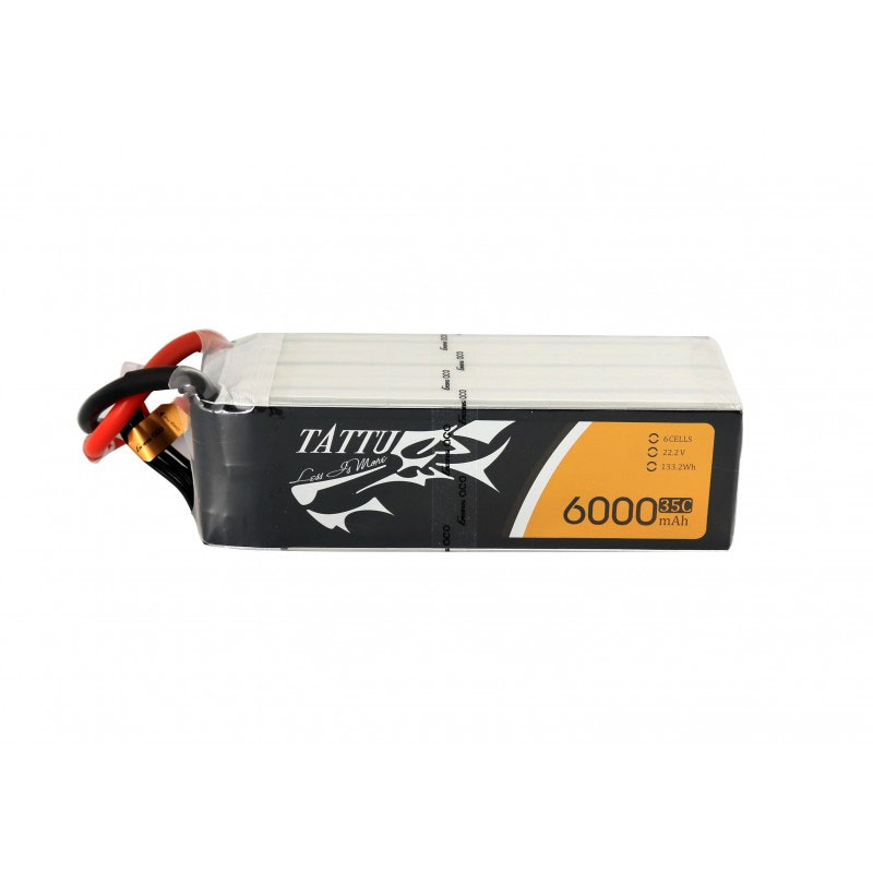 タトゥー/Tattu リポバッテリー 22.2V 6000mAh 35C (Tattu 6000mAh 6S1P 35C 22.2V Lipo Battery Pack with XT60 plug)TA-35C-6000-6S1P-XT60