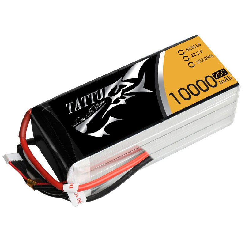 タトゥー/Tattu リポバッテリー 22.2V 10000mAh 25C (Tattu 10000mAh 6S 25C 22.2V Lipo Battery Pack without plug)TA-25C-10000-6S1P