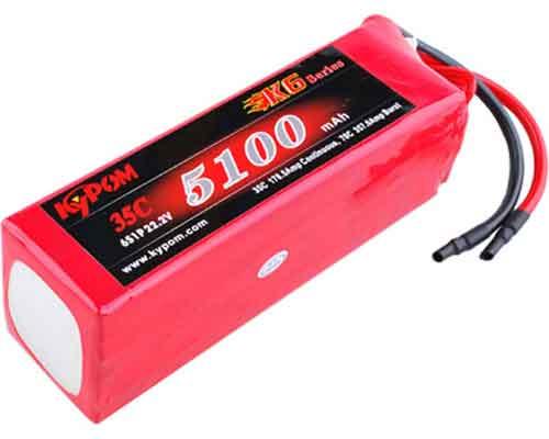 キーポン/Kypom Lipoバッテリー (22.2V 5100mah 35C 6S1P 55.0x44.0x138.0mm)