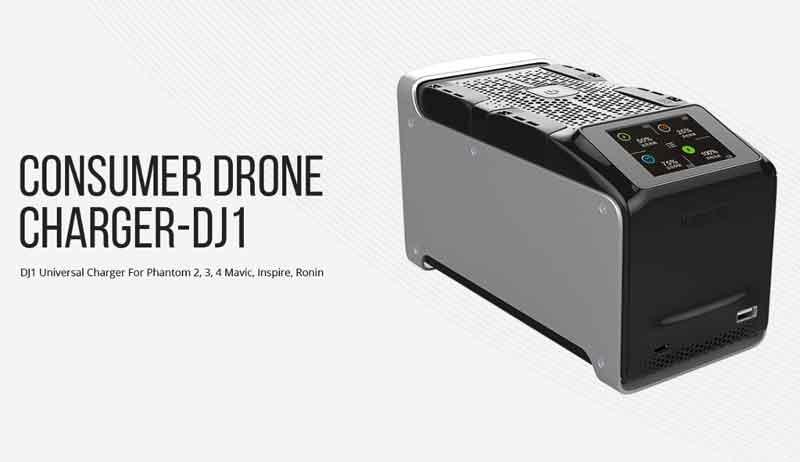 イーブイ・ピーク/EV-PEAK DJ1 AC/DCDJIドローン用マルチ充電器(4個同時充電)Phantom 2, Phantom 3, Phantom 4, Inspire, Mavic, M100, M600対応