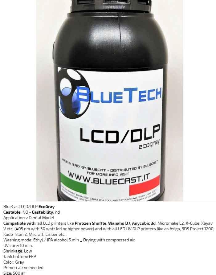 BlueCast エコグレー歯科モデルLCD / DLP レジン 光造形LCD/DLPプリンター用 (Wanaho D7、 Anycubic 3D、Zortrax、Prusa、Micromake L2、X-Cube、Xayav VなどのすべてのLCDプリンタ (30 W LED以上405 nm)) BlueCast Ecogray LCD/DLP 0.5 kg