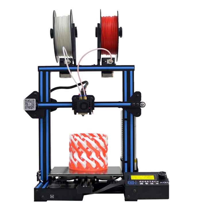 GEEETECH A10M 3Dプリンター半完成DIYキット・デュアルエクストルーダ・ミックスカラー、フィラメント検出および中断復帰機能 220×220×260mm大容量ビルドエリア
