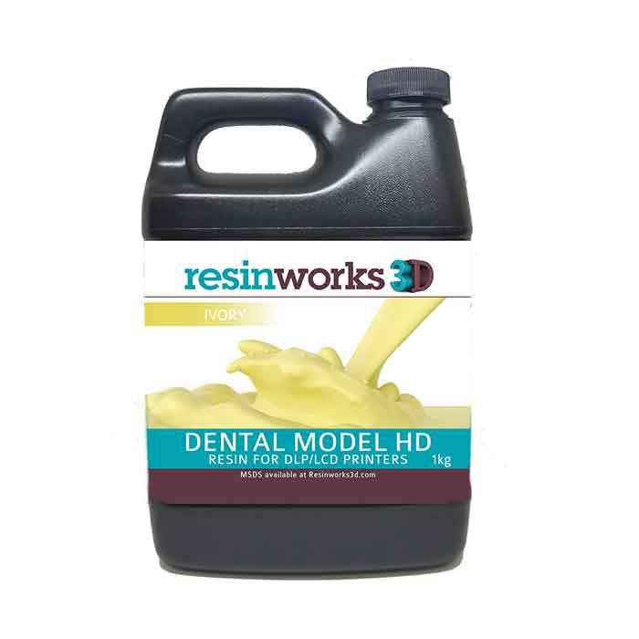 resinworks3D 歯科用モデルHDレジン アイボリー1Kg LCD光造形 3Dプリンター用 (Anycubic Photon、Bean、FlashForge、Phrozen 3Dプリンター、Wanhao、およびその他のLCDベースのプリンター)Dental Model White