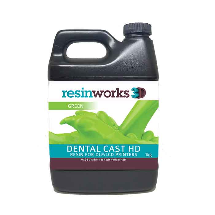 resinworks3D 歯科用キャストHDレジン グリーン1Kg LCD光造形 3Dプリンター用 (Anycubic Photon、Bean、FlashForge、Phrozen 3Dプリンター、Wanhao、およびその他のLCDベースのプリンター)DentalCast-HD-Green