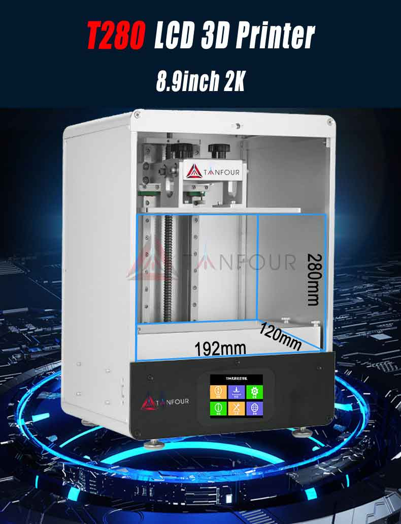 Tianfour T280 プリンタ diy キット 8.9 インチ 2K LCD192 * 120 * 280mm大規模なビルドボリューム/デュアルレールZ軸/3.5インチタッチスクリーンサポート Uディスク印刷 光造形式 3Dプリンターキット 【正規販売代理店】
