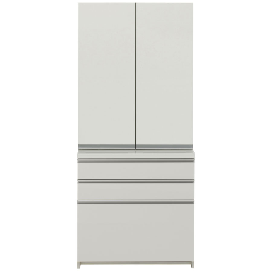 食器棚 パモウナ WL/KL KL-S800K KL-800K 【幅80×高さ187cm】 食器棚 パールホワイト pamouna