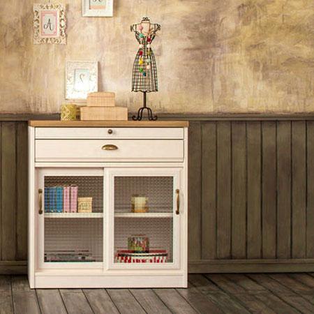 フレンチカントリー 食器棚 完成品  【即納】 クリチコ キッチンボード 木目ホワイト K-800L 日本製 ユーアイ 北欧