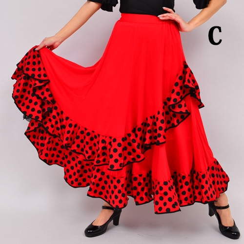 # 1 Award-winning polka-dot frilled front long skirt ★ stage costumes ★ ダンスフ ★ Flamenco costumes ★ dance costumes ★ karaoke ★ ballroom dance ★ modern ★ costumes ★ competition dancesport