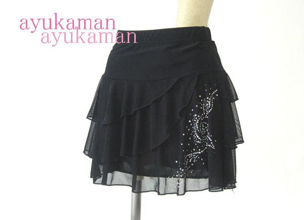 24bf4bd72bf3 3-Stage frill chiffon skirt M-L (black, sequined) ☆ ballroom dance ...