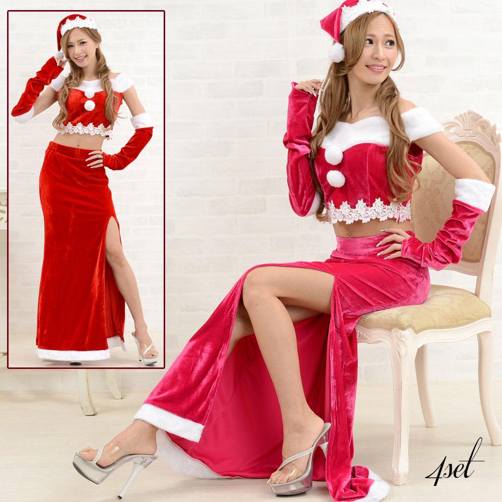 サンタ衣装 1039サンタ4点セットクリスマス サンタコスチューム キャバドレス