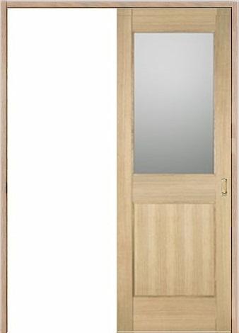 木製室内ドア 引き戸枠セット-アッシュ-/ガラスタイプ SL-AM-1L22