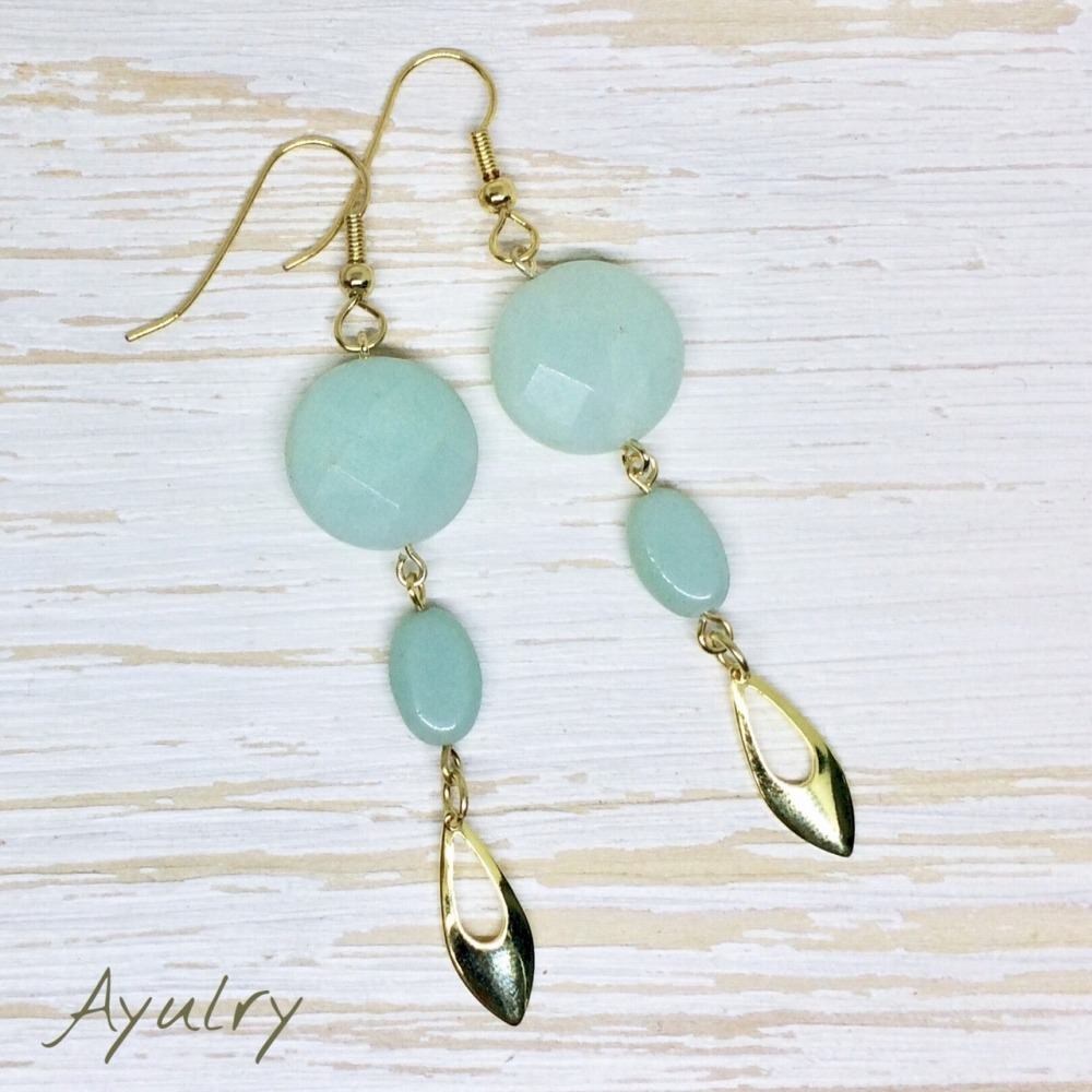 Metal Allergic Response Surgical Stainless Steel Use Anium Resin Earrings Post Changes Free Natural Stone Ite Light Blue