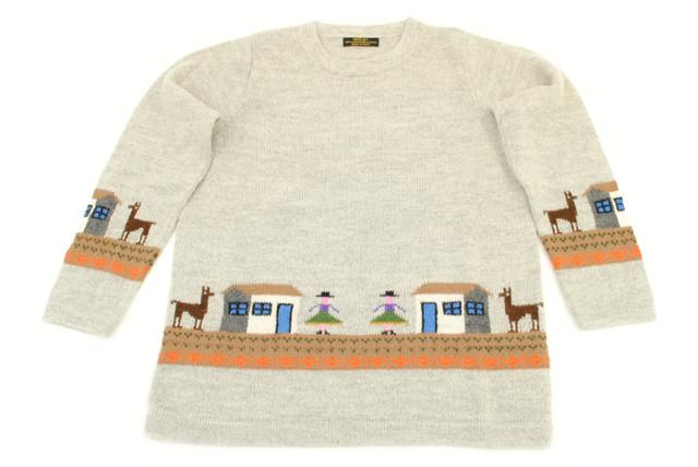スーパーファインアルパカ100%手編みセーター(スーパーファイン品質)[SW-044]