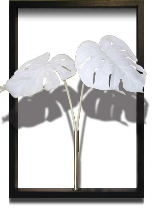 リーフパネル 絵画 F-style Tuinie Monstera Deliciosa White(エフスタイル ツイーニー モンステラ デリシオサ ホワイト)/額入り 額装込 絵画 絵 壁掛け アート リビング 玄関 トイレ インテリア かわいい 壁飾り 癒やし プレゼント ギフト アートパネル ポスター 3Lサイズ