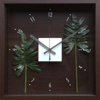 時計 デザイン クロック リーフ フィロデンドロン クッカバラ/掛け時計 置き時計 ウォールクロック インテリア 壁掛け 時刻 ギフト プレゼント 新築祝い おしゃれ 飾る かわいい アート Mサイズ 巣ごもり