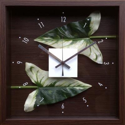 【時計】デザイン クロック リーフ アンスリウムの葉っぱ/掛け時計 置き時計 ウォールクロック インテリア 壁掛け 時刻 ギフト プレゼント 新築祝い おしゃれ かわいい アート【L】