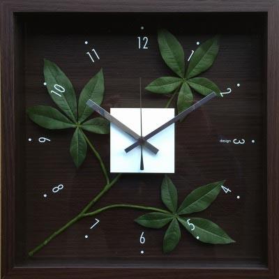 時計 デザイン クロック リーフ パキラ グラブラ/掛け時計 置き時計 ウォールクロック インテリア 壁掛け 時刻 ギフト プレゼント 新築祝い おしゃれ 飾る かわいい アート Mサイズ 巣ごもり