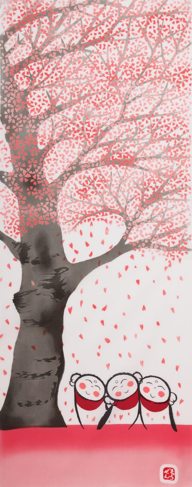 《絵てぬぐい 絵画》桜地蔵 四季 絵画 壁掛けアートは リビングや玄関におすすめのインテリア かわいい壁飾りはお部屋を癒やしてくれそう プレゼントにも 絵てぬぐい 桜地蔵 手ぬぐい 手拭い タオル 歌舞伎 インテリア はんかち 和雑貨 海外 飾る おしゃれ 祭り SALENEW大人気! 巣ごもり アート 日用品 プレゼント ギフト 伝統工芸 高級 外国人 3Lサイズ 日本製 はちまき