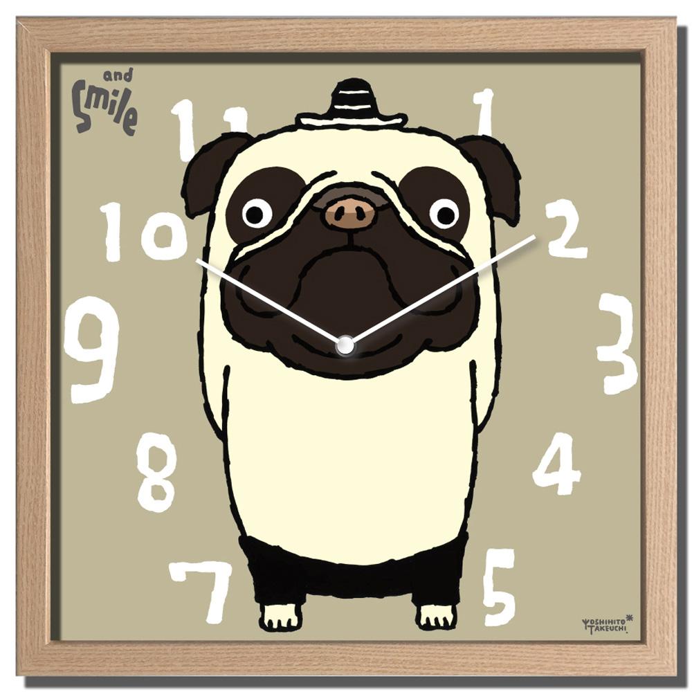 【時計】アーティスト クロック 武内 祐人 パグ/掛け時計 ウォールクロック インテリア 壁掛け ギフト プレゼント 新築祝い おしゃれ 飾る かわいい 犬 Dog Mサイズ 巣ごもり