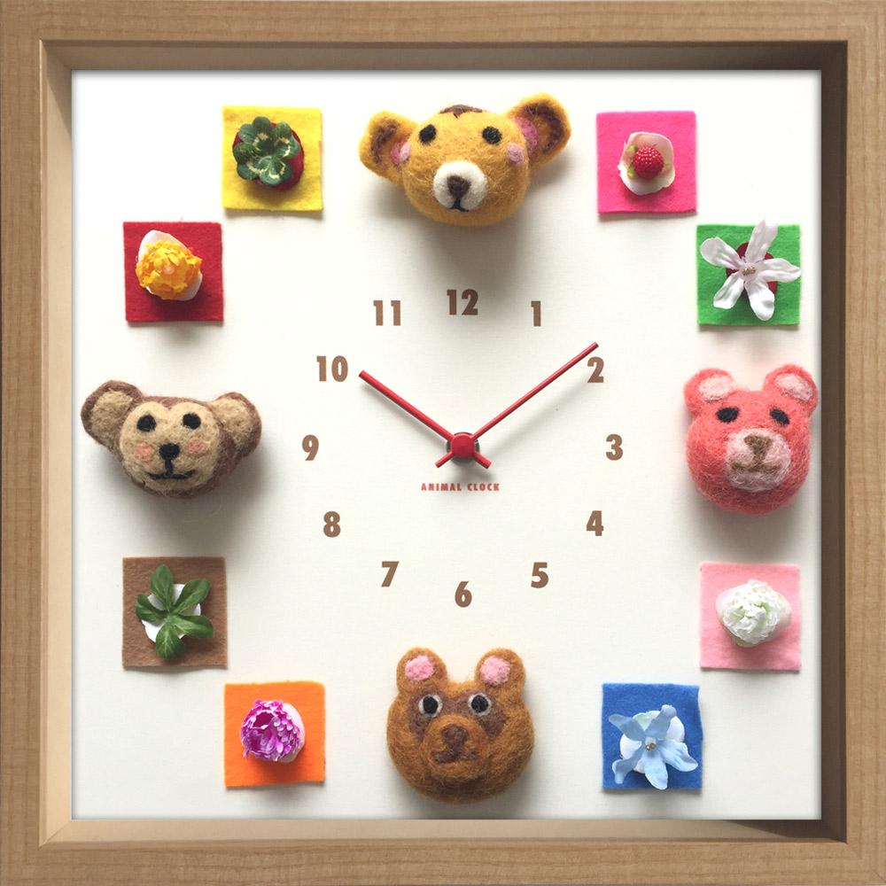 【時計】ディスプレイ クロック アニマル クロック フェルト 2/掛け時計 ウォールクロック インテリア 壁掛け ギフト プレゼント 新築祝い おしゃれ 飾る かわいい 動物 カラフル 子ども部屋 Mサイズ 巣ごもり