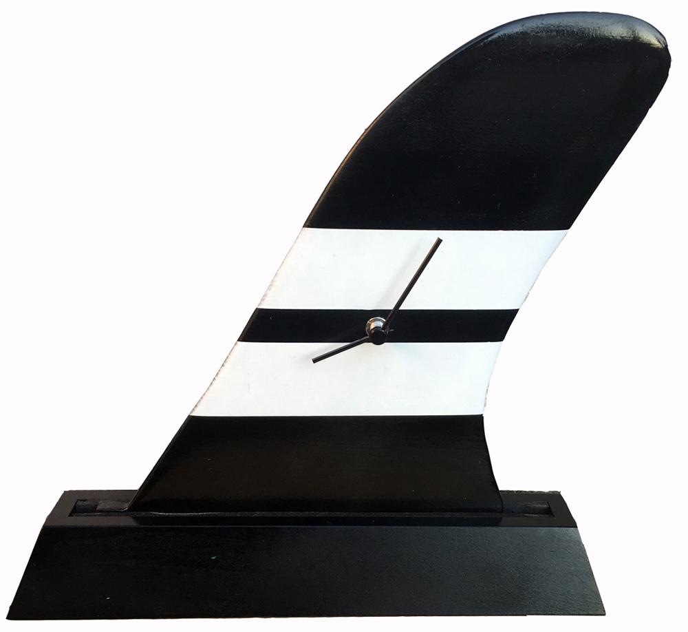 【時計】サーフィン フィン クロック ブラック/インテリア リビング 玄関 トイレ 部屋 プレゼント モダン おしゃれ 置き時計 棚飾り テーブル クロック 飾る Mサイズ 巣ごもり