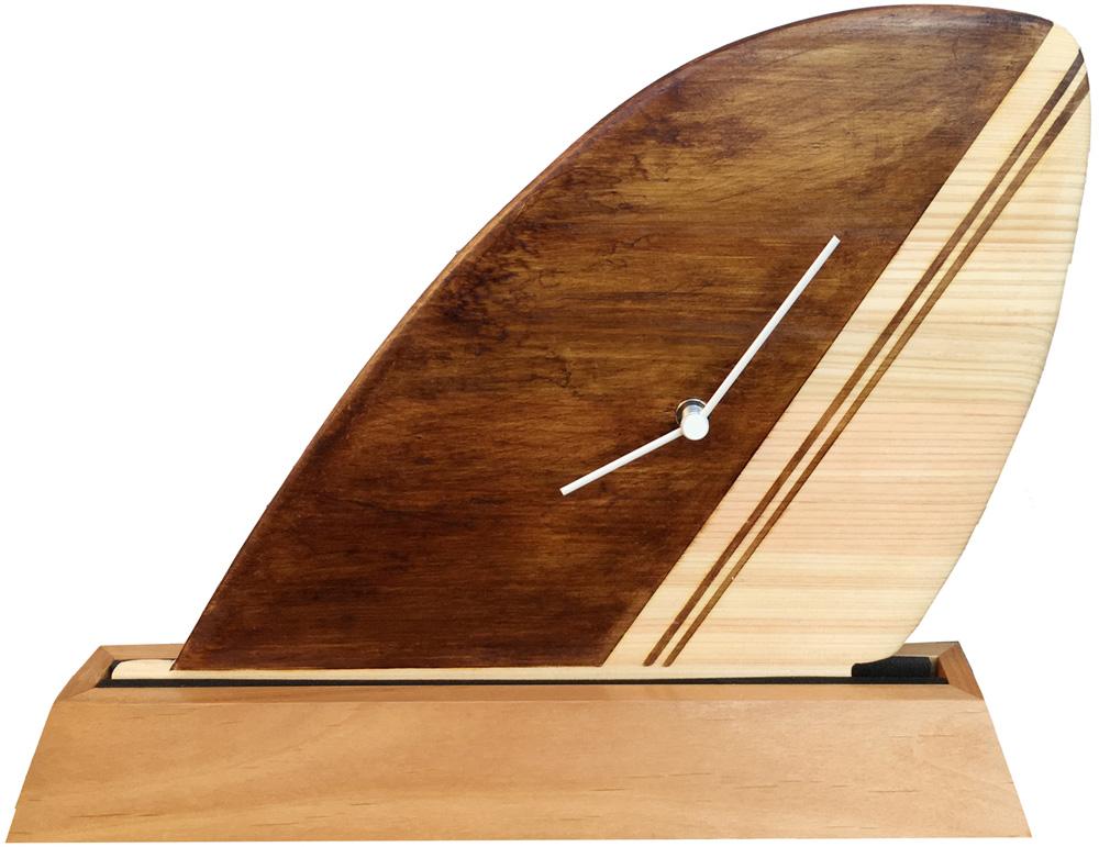【時計】サーフィン フィン クロック ブラウン/インテリア リビング 玄関 トイレ 部屋 プレゼント モダン おしゃれ 置き時計 棚飾り テーブル クロック 飾る Mサイズ
