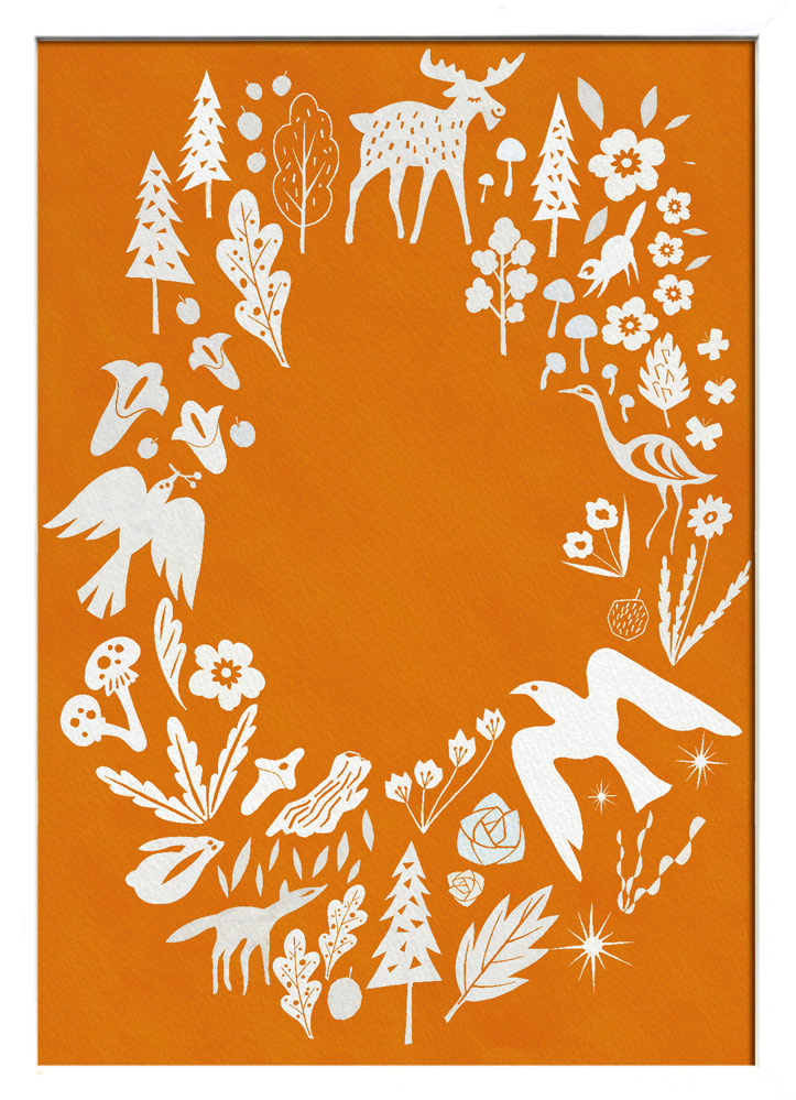 【絵画】Scandinavian Art フィンランドの森/オレンジ/額入り アートフレーム 壁掛け 飾る リビング インテリア 北欧 シンプル かわいい プレゼント ギフト ポスター LLサイズ 巣ごもり