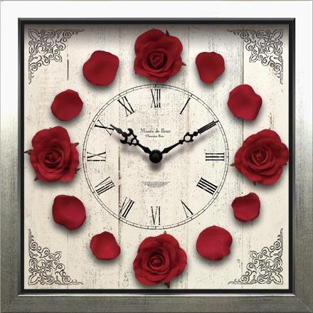 時計 壁掛け クラシック ローズ クロック Red レッド/掛け時計 置き時計 ウォールクロック インテリア 壁掛け 時刻 ギフト プレゼント 新築祝い おしゃれ 飾る かわいい アート Mサイズ 巣ごもり