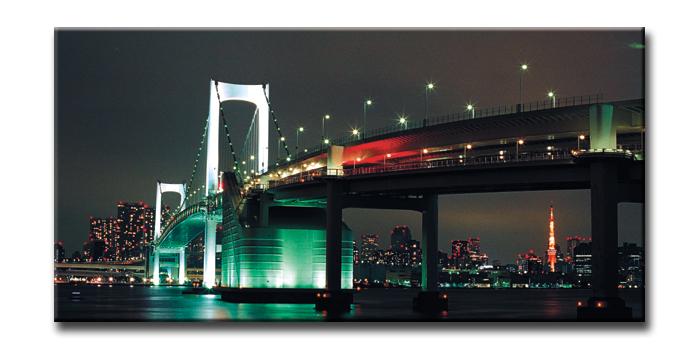 キャンバスアート アーバンスタイルL 東京 レインボーブリッジ(URBAN STYLE L Tokyo Rainbow Bridge)/額入り 絵画 絵 壁掛け アート リビング 玄関 トイレ インテリア かわいい 壁飾り 癒やし プレゼント ギフト アートパネル ポスター アートフレーム おしゃれ 4Lサイズ