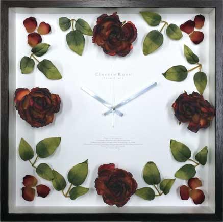 時計 壁掛け ローズ クロック クラシック レッド /掛け時計 置き時計 ウォールクロック インテリア 壁掛け 時刻 ギフト プレゼント 新築祝い おしゃれ 飾る かわいい アート Lサイズ 巣ごもり