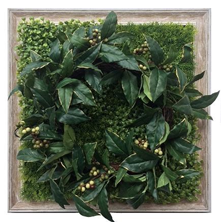 グリーンフレーム Shibafu Wreath 4(芝生 リース4)/インテリア 壁掛け 額入り 額装込 風景画 油絵 ポスター アート アートパネル リビング 玄関 プレゼント モダン アートフレーム おしゃれ 飾る 3Lサイズ 巣ごもり