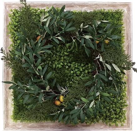 グリーンフレーム Shibafu Wreath 6(芝生 リース6)/インテリア 壁掛け 額入り 額装込 風景画 油絵 ポスター アート アートパネル リビング 玄関 プレゼント モダン アートフレーム おしゃれ 飾る 3Lサイズ 巣ごもり