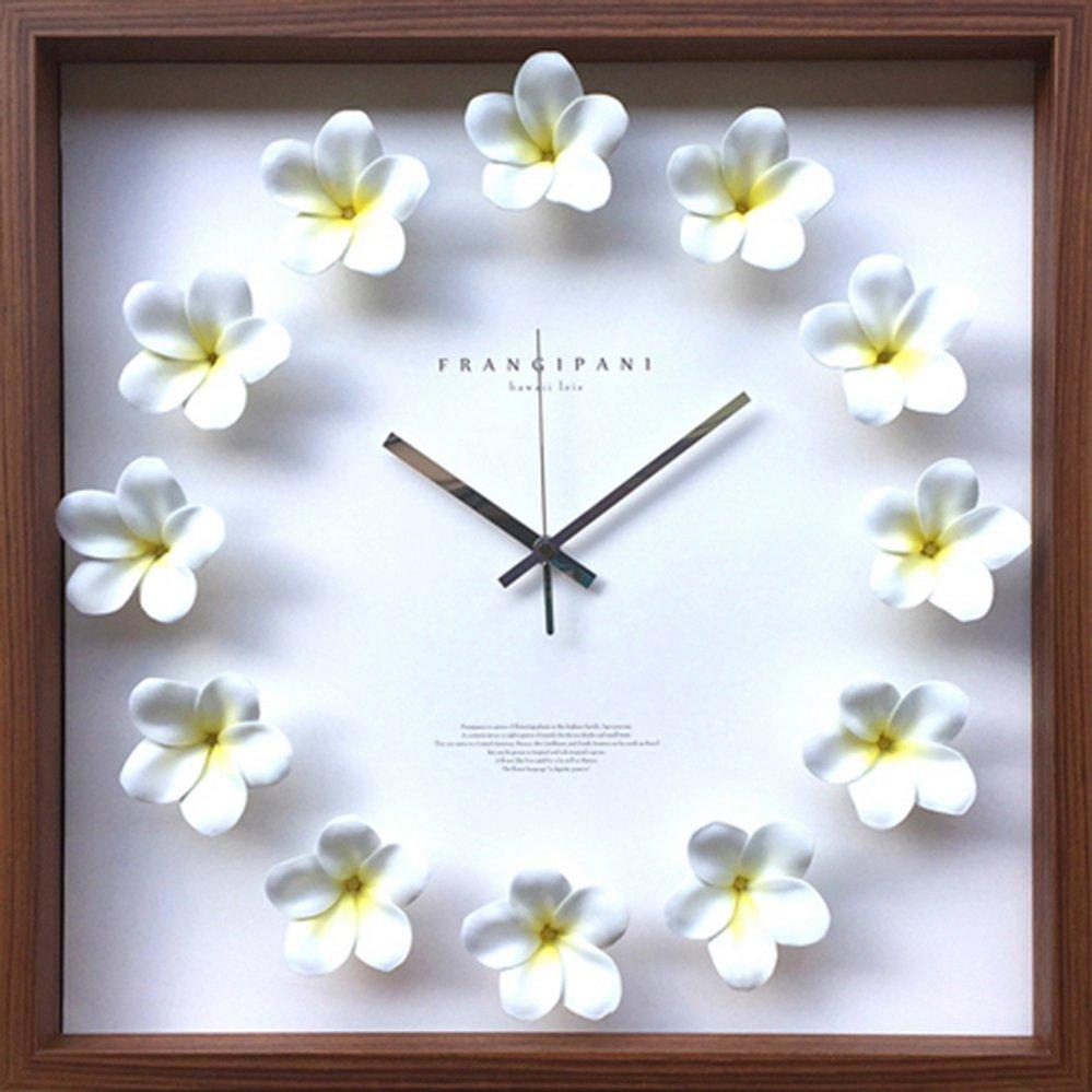 時計 プルメリア クロック 白/掛け時計 置き時計 ウォールクロック インテリア 壁掛け 時刻 ギフト プレゼント 新築祝い おしゃれ 飾る かわいい アート Lサイズ 巣ごもり
